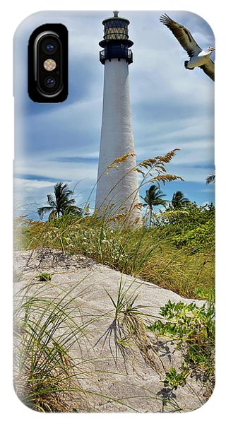 Pelican Flying Over Cape Florida Lighthouse IPhone Case