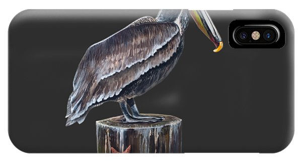 Tiki Bar iPhone Case - Pelican Standing On A Piling by Jennifer Rogers