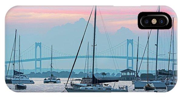 Pell Bridge Newport Harbor Newport Ri Rhode Island Purple Sunset IPhone Case