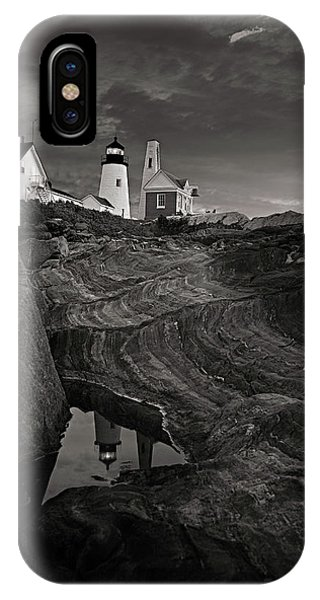 Pemaquid Lighthouse At Dawn Black And White IPhone Case