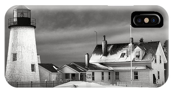 Navigation iPhone Case - Pemaquid Point Lighthouse And Museum In Winter Monochrome  by Olivier Le Queinec