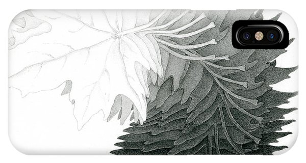 Pencil Drawing Of Maple Leaves IPhone Case