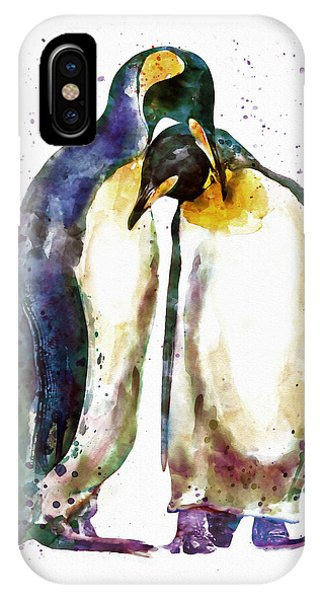 Penguin iPhone Case - Penguin Couple by Marian Voicu