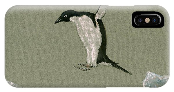 Penguin iPhone Case - Penguin Jumping by Juan  Bosco