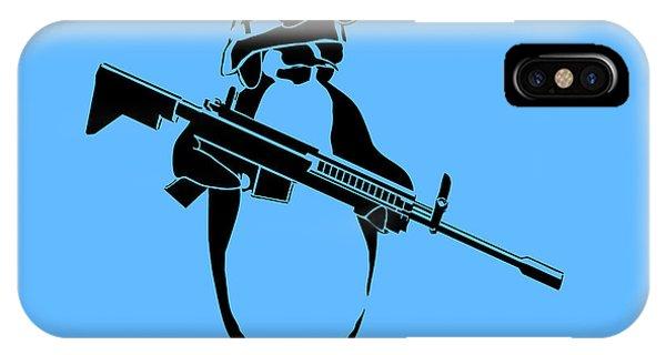 Weapons iPhone Case - Penguin Soldier by Pixel Chimp