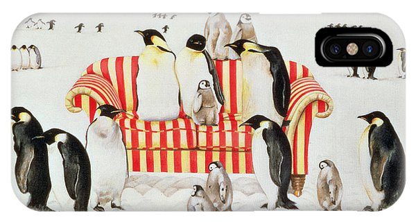 Different iPhone Case - Penguins On A Red And White Sofa  by EB Watts