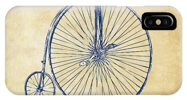 Bicycle iPhone X Case - Penny-farthing 1867 High Wheeler Bicycle Vintage by Nikki Marie Smith