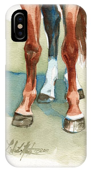 IPhone Case featuring the painting Penny's Happy Feet by Linda L Martin