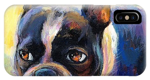 Pensive Boston Terrier Painting By IPhone Case