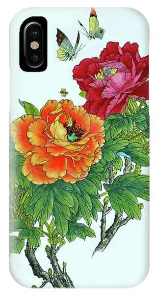 Peonies And Butterflies IPhone Case