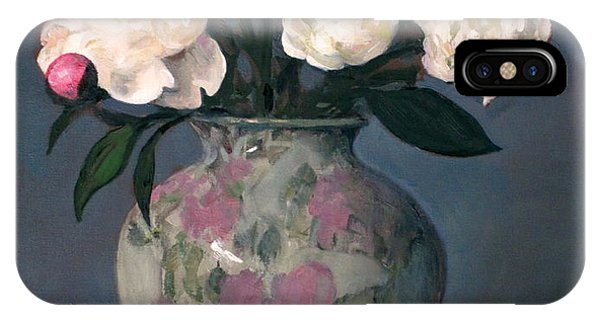 Peonies In Floral Vase With Red Apple IPhone Case