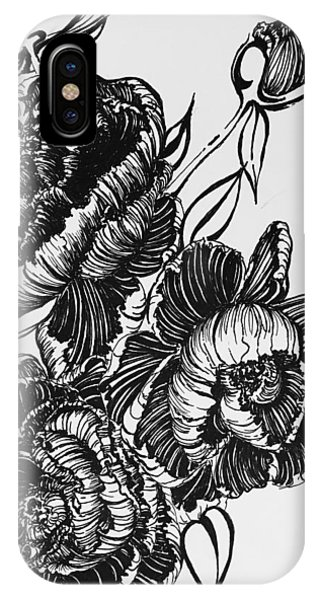 Peonies Line Drawing IPhone Case