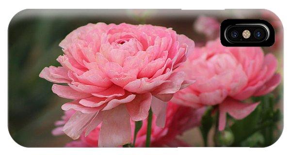 Peony Pink Ranunculus Closeup IPhone Case
