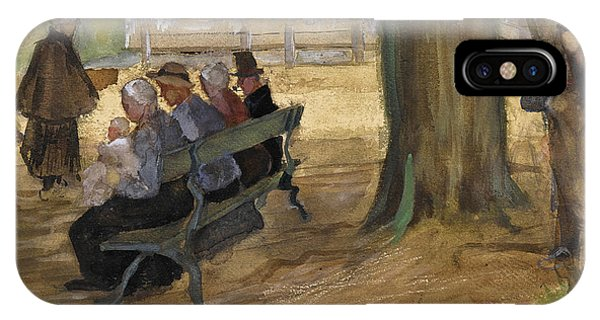 Impressionistic iPhone Case - People Sitting On A Bench In Bezuidenhout. The Hague by Vincent van Gogh