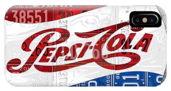 License iPhone Case - Pepsi Cola Vintage Logo Recycled License Plate Art On Brick Wall by Design Turnpike
