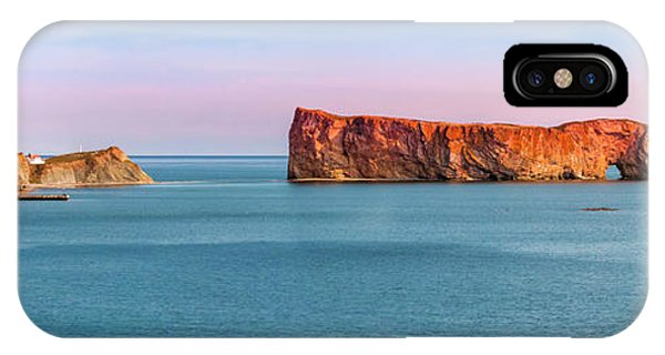 IPhone Case featuring the photograph Perce Rock Panorama At Sunset by Elena Elisseeva