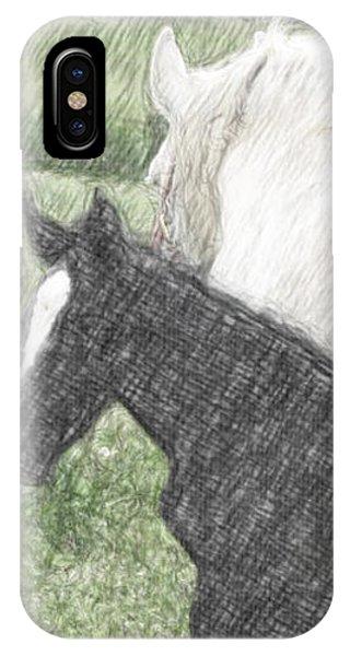 Percheron Colt And Mare In Pasture Digital Art IPhone Case