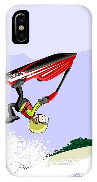 Jet Ski iPhone Case - Performing Stunts At Sea On A Red Jet Ski by Daniel Ghioldi