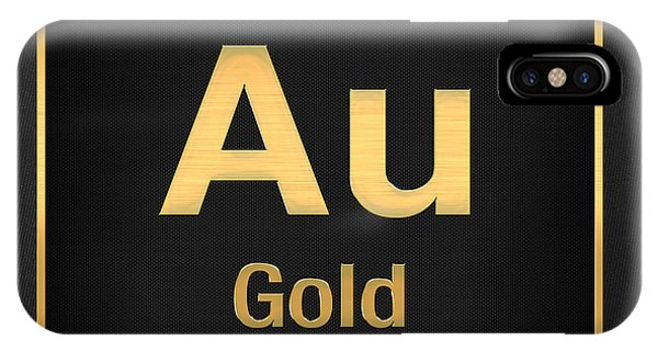 Periodic Table Of Elements - Gold - Au - Gold On Black IPhone Case