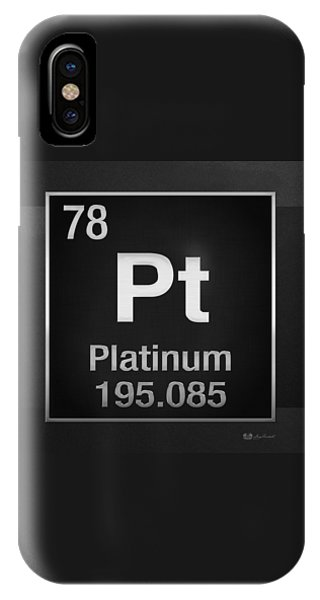 Periodic Table Of Elements - Platinum - Pt - Platinum On Black IPhone Case