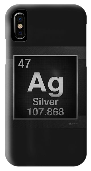 Periodic Table Of Elements - Silver - Ag - Silver On Black IPhone Case
