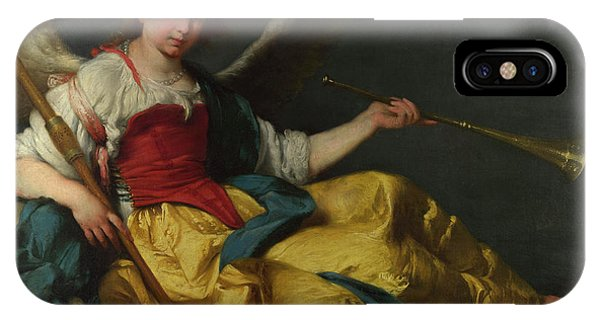 Yellow Trumpet iPhone Case - Personification Of Fame by Bernardo Strozzi