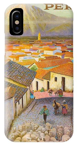 Peru iPhone Case - Peru El Misti Volcano Vintage Travel Poster by Retro Graphics