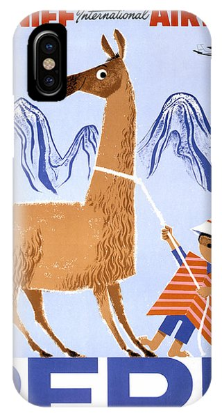 Peru Vintage Travel Poster Restored IPhone Case