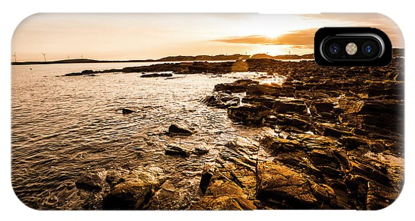 Stone Wall iPhone Case - Petal Point Ocean Sunrise by Jorgo Photography - Wall Art Gallery