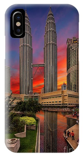 Petronas Towers Sunset IPhone Case