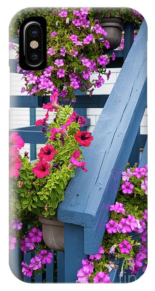 IPhone Case featuring the photograph Petunias On Blue Porch by Elena Elisseeva