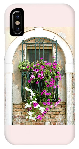 Petunias Through Wrought Iron IPhone Case