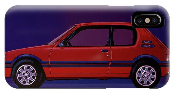 Oldtimer iPhone Case - Peugeot 205 Gti 1984 Painting by Paul Meijering