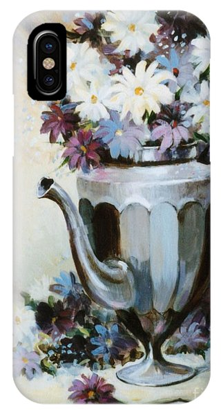 Pewter Coffee Pot And Daisies Phone Case by JoAnne Corpany