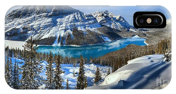 Peyto Lake Winter Panorama IPhone Case