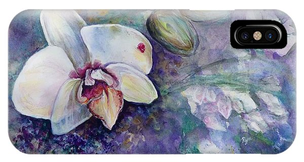 Phalaenopsis Orchid With Hyacinth Background IPhone Case