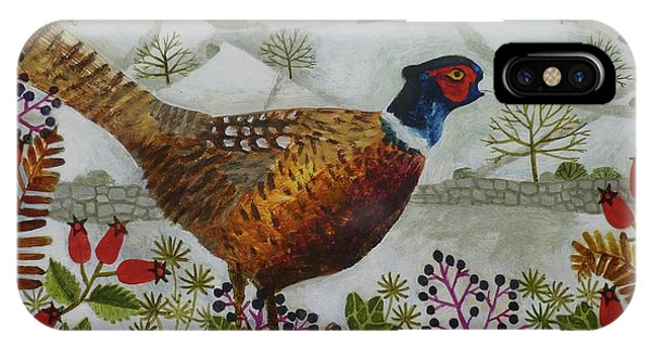 Pheasant And Snowy Hillside IPhone Case