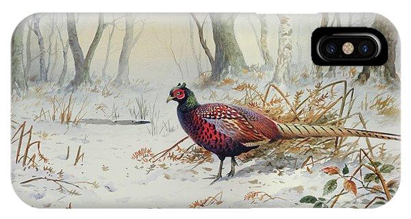 Pheasants In Snow IPhone Case