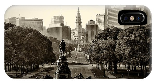 iPhone Case - Philadelphia Benjamin Franklin Parkway In Sepia by Bill Cannon