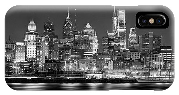 Philadelphia iPhone Case - Philadelphia Philly Skyline At Night From East Black And White Bw by Jon Holiday