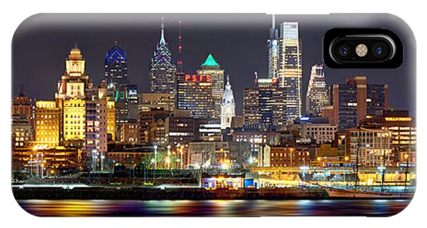 Downtown iPhone Case - Philadelphia Philly Skyline At Night From East Color by Jon Holiday
