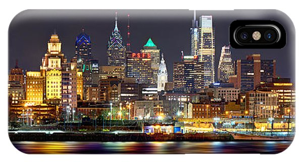 City Scenes iPhone Case - Philadelphia Philly Skyline At Night From East Color by Jon Holiday