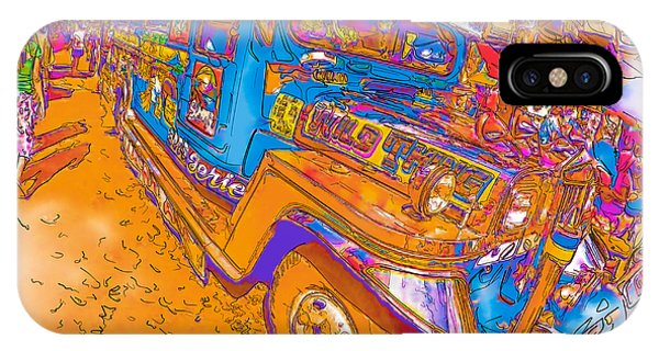 Philippine Girl Walking By A Jeepney IPhone Case