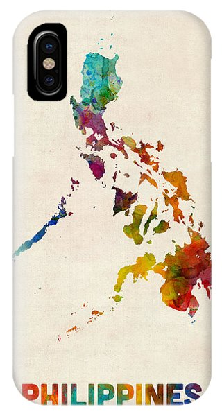 Print iPhone Case - Philippines Watercolor Map by Michael Tompsett