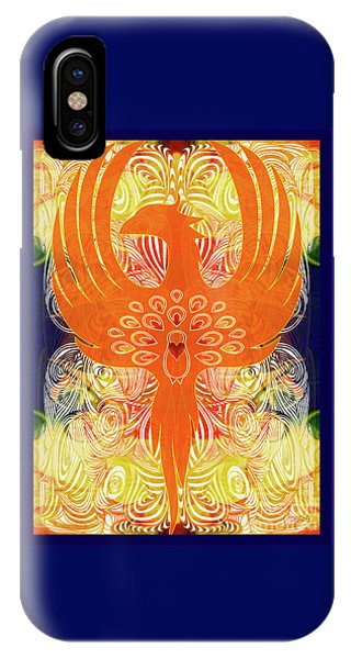 IPhone Case featuring the digital art Phonix Rising Abstract Healing Art By Omashte by Omaste Witkowski