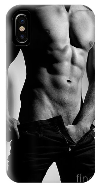 Photograph Of A Sexy Man In Black And White #9981g IPhone Case