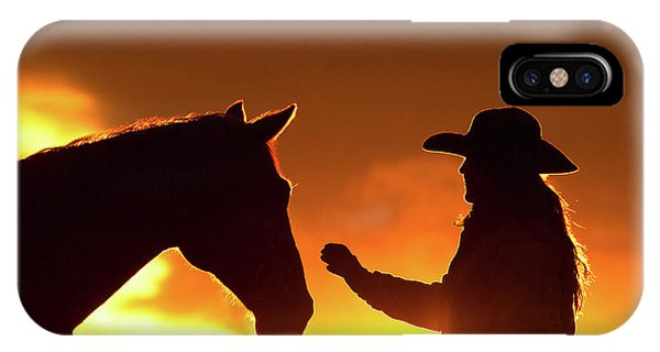 iPhone Case - Cowgirl Sunset Sihouette by Shawn Hamilton