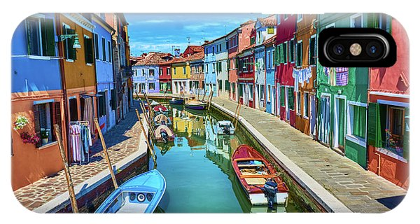 Picturesque Buildings And Boats In Burano IPhone Case