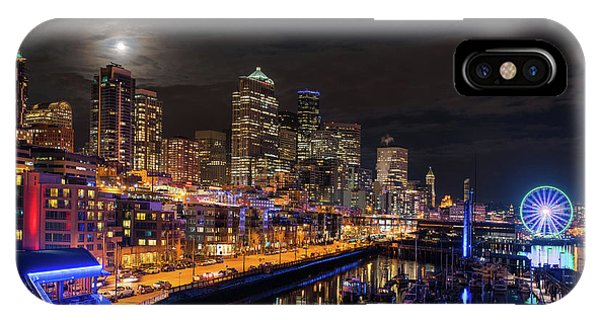 The Nature Center iPhone Case - Pier 66 Full Moon Rising Over Seattle by Mike Reid