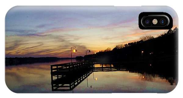 Pier Silhouetted In The Sunset On The Coosa River IPhone Case